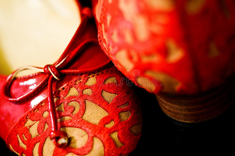 Traditional Chinese Red Bridal Shoes royalty free stock photos