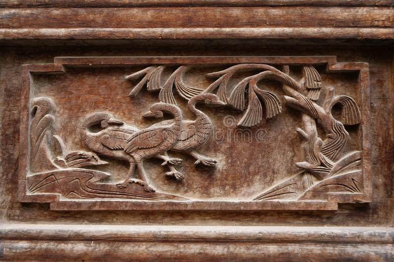 Traditional Chinese Residences interior wooden carving decoration painting in Tianshui Folk Arts Museum Hu Shi folk house, Gansu. China stock photo