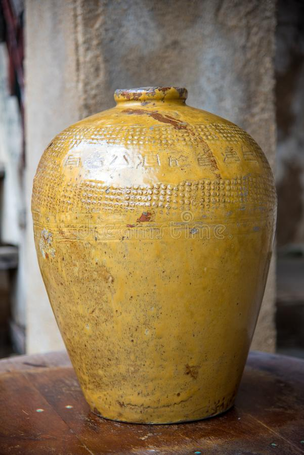 Traditional Chinese rice wine jars for liquor fermentation at thailand , old jar.  royalty free stock images