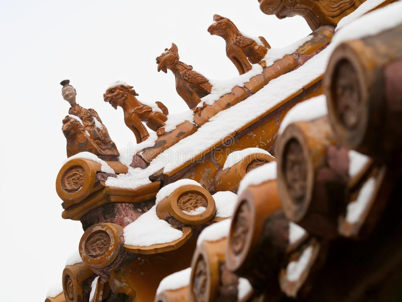 Traditional Chinese Roof Figures, Forbidden City, Beijing stock photo
