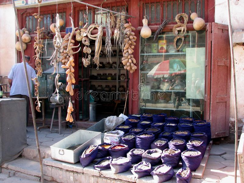 Traditional chinese shop in Kashgar China royalty free stock photography