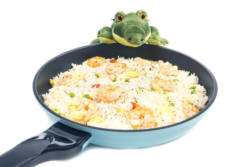 Traditional Chinese Shrimp Fried Rice in a Frying Pan #4. Traditional Chinese Shrimp Fried Rice in a Frying Pan Isolated on White #4 stock photo