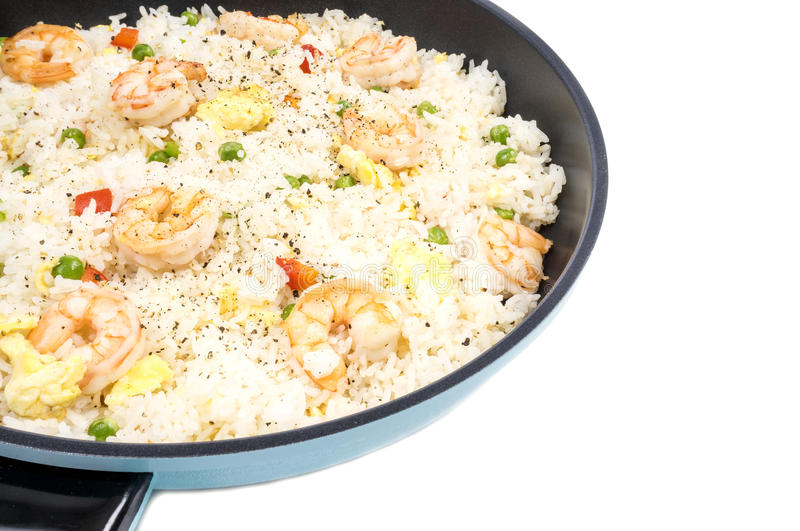 Traditional Chinese Shrimp Fried Rice in a Frying Pan #3. Traditional Chinese Shrimp Fried Rice in a Frying Pan Isolated on White #3 royalty free stock photos