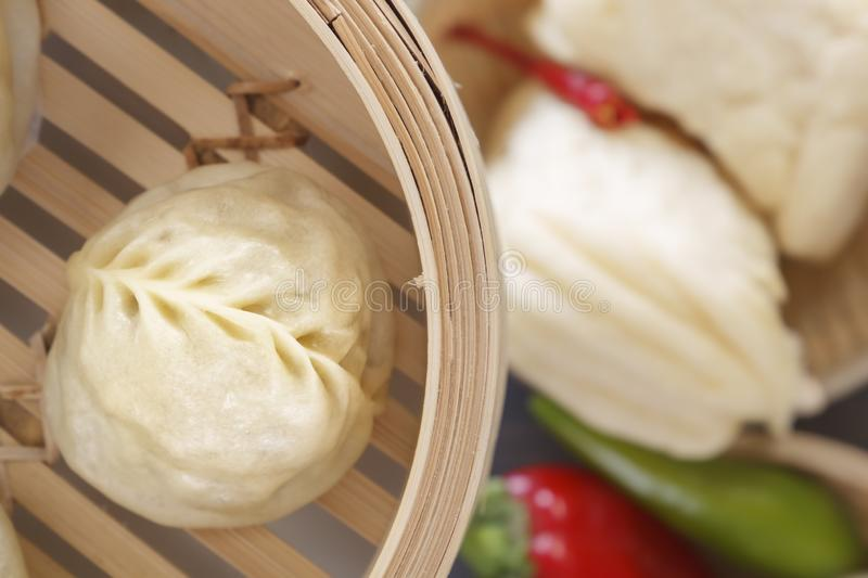 Traditional Chinese steamed dumplings. Top view. Close-up stock image