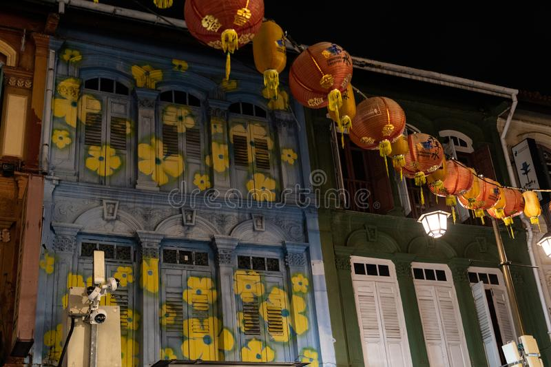 Traditional Chinese street lanterns decorations for Chinese New Year celebration stock images