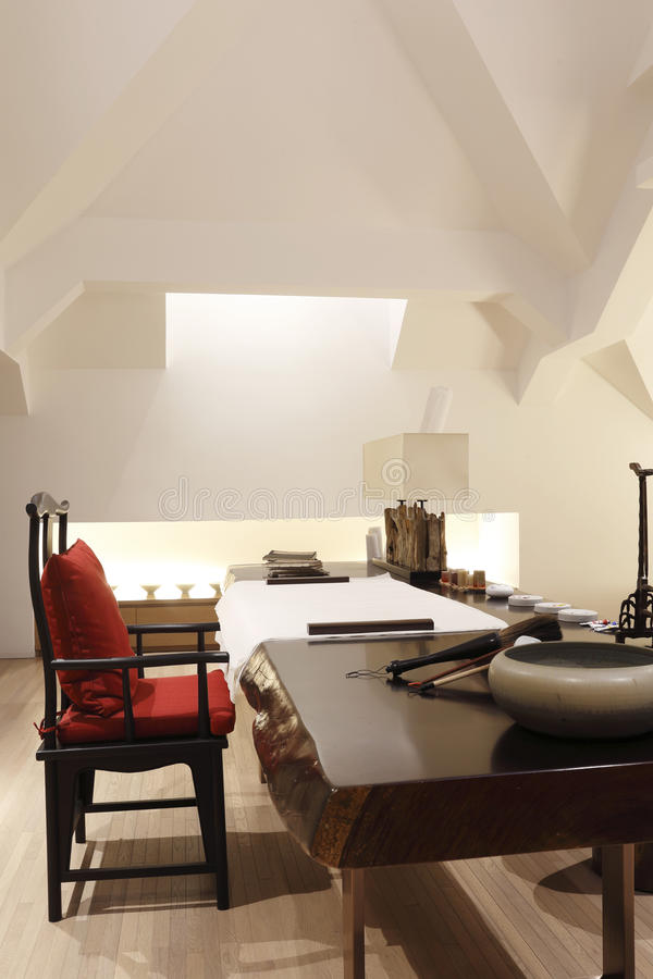 Stylish Study Room: Study Room At The Attic Stock Photo. Image Of Contemporary
