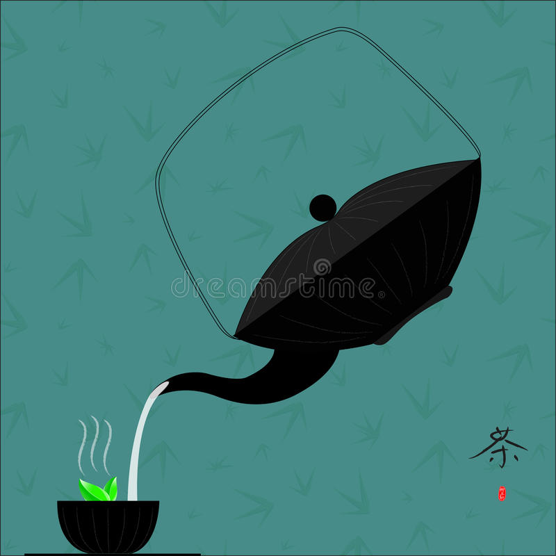 Traditional Chinese Tea with bamboo vector illustration