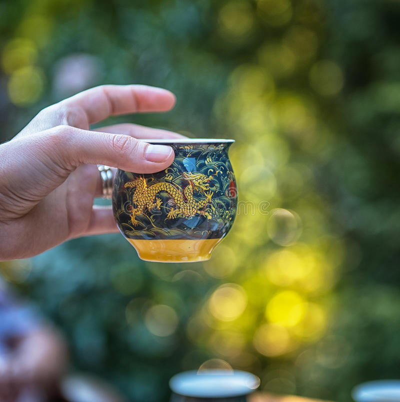Traditional Chinese tea pots in the garden royalty free stock photography