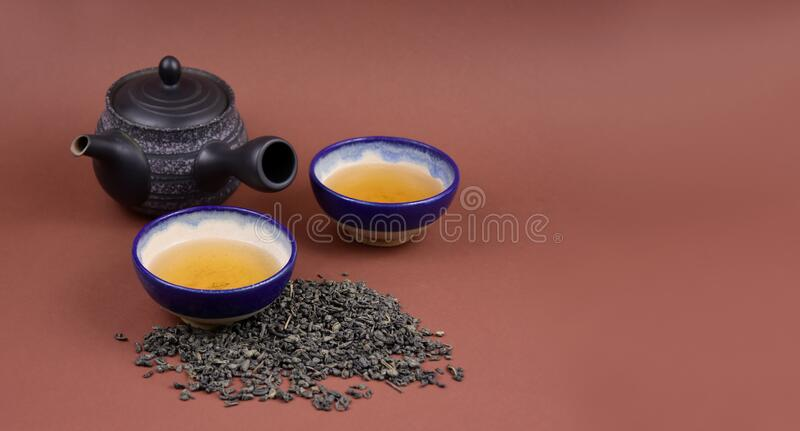 Ceramic teapot with cup stock images royalty free stock images
