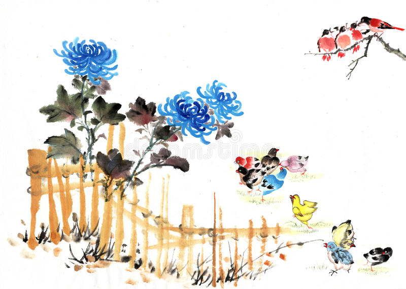 Traditional Chinese view. The view of countryside--fence with bamboo, birds flying and chrysanthemum royalty free illustration