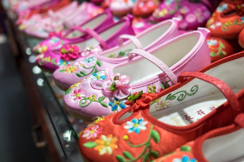 Traditional Chinese women shoes for sale stock photo