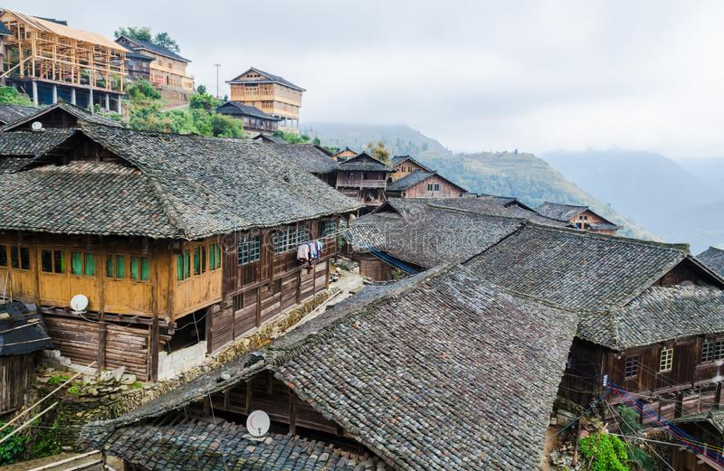 Traditional chinese Zhuang Long Ji minority village wooden houses. LONGSHENG, CHINA - October 19, 2013: Traditional chinese Zhuang Long Ji minority village stock images