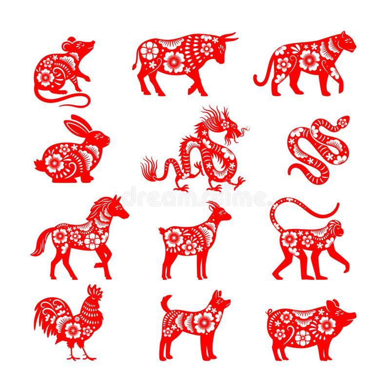 Free Traditional Chinese Zodiac Illustrations Stock Photography - 164202642