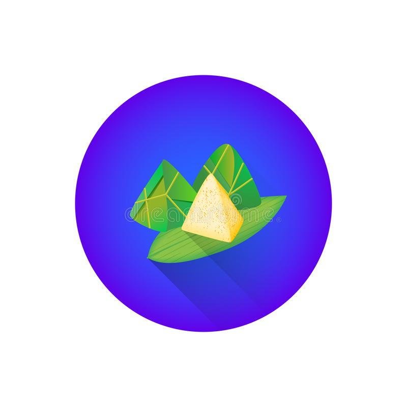 Traditional chinese Zongzi rice food. Vector colorful traditional chinese Zongzi glutinous rice food warped in bamboo leaves illustration flat shadow design stock illustration
