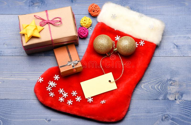 Traditional christmas attribute. Christmas stocking sock shaped bag. Keep family traditions. Stocking stuffers idea royalty free stock photography