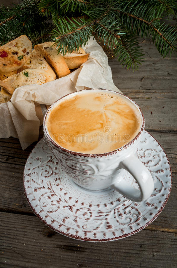 Traditional Christmas baking biscotti or cantucci stock image