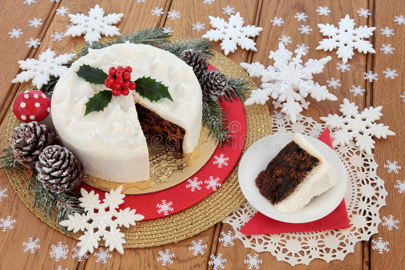 Traditional Christmas Cake royalty free stock photos
