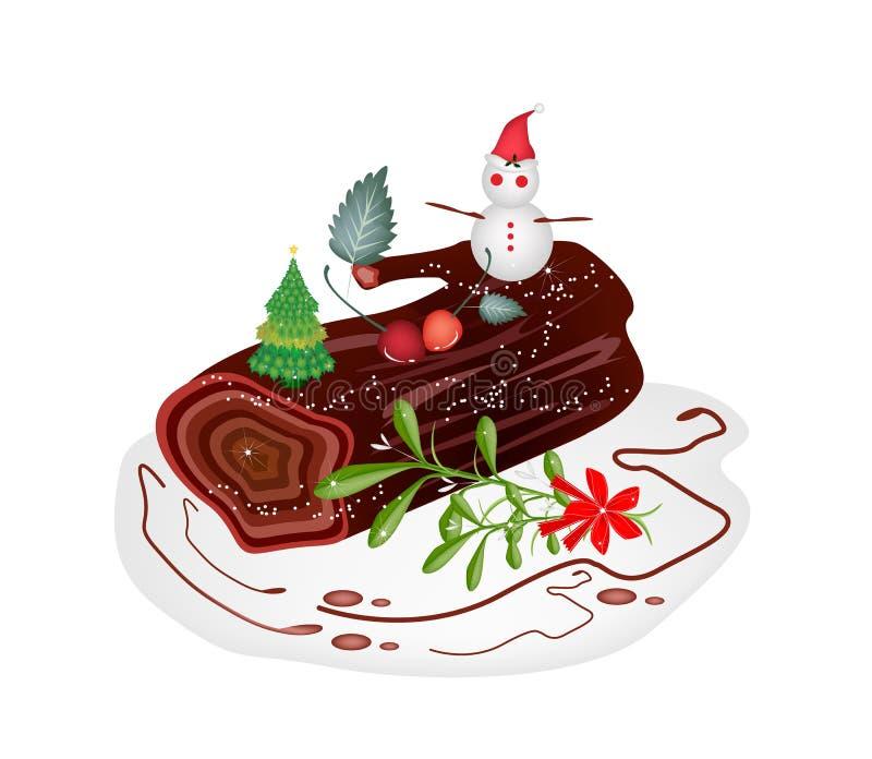 Traditional Christmas Cake or Yule Log Cake. A Traditional Christmas Cake, Yule Log Cake or Buche de Noel with Mistletoe Bunch for Christmas Celebration vector illustration