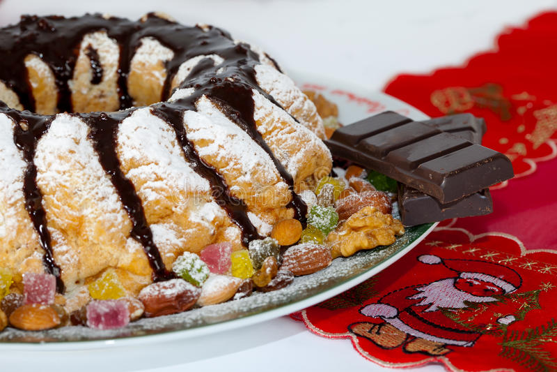 Traditional Christmas chocolate cake royalty free stock photos