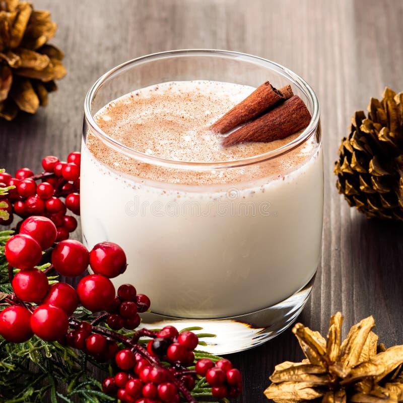 Traditional Christmas Cocktail Eggnog With Eggs, Alcohol