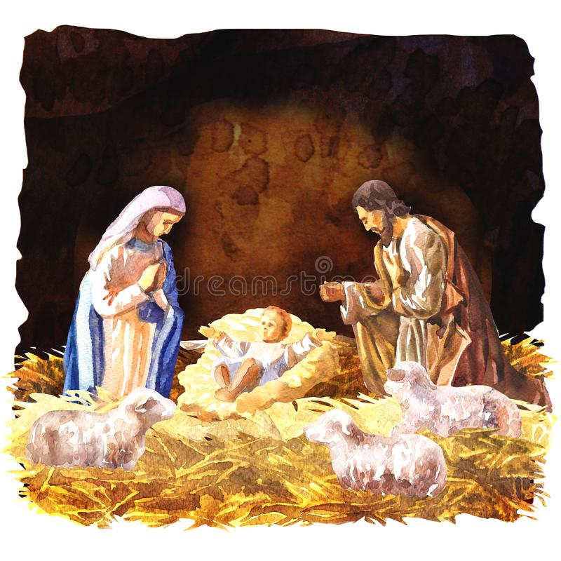 Traditional Christmas Crib, Holy Family, Christmas nativity scene with baby Jesus, Mary and Joseph in the manger with royalty free illustration