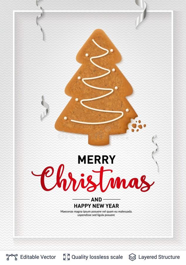 Gingerbread fir tree cookie on light banner. stock illustration
