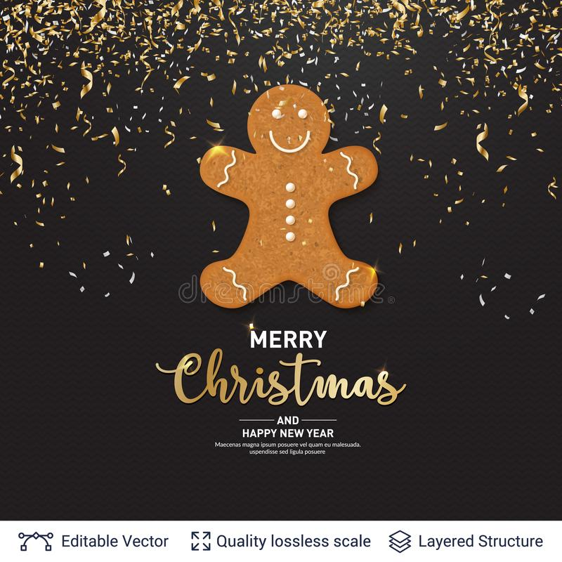 Gingerbread man cookie and text on dark banner. royalty free illustration