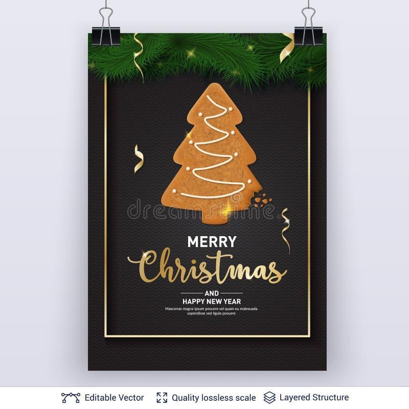Gingerbread fir tree cookie on dark banner. stock illustration
