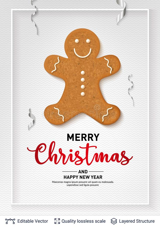 Gingerbread man cookie and text on light banner. vector illustration