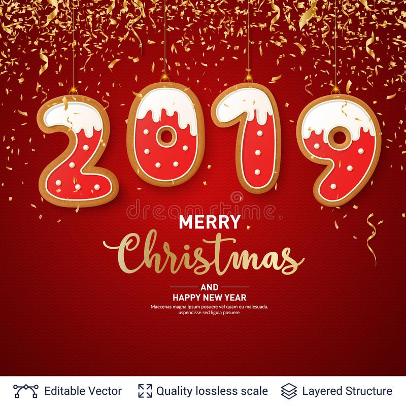 2019 number of Gingerbread cookies on red banner. royalty free illustration
