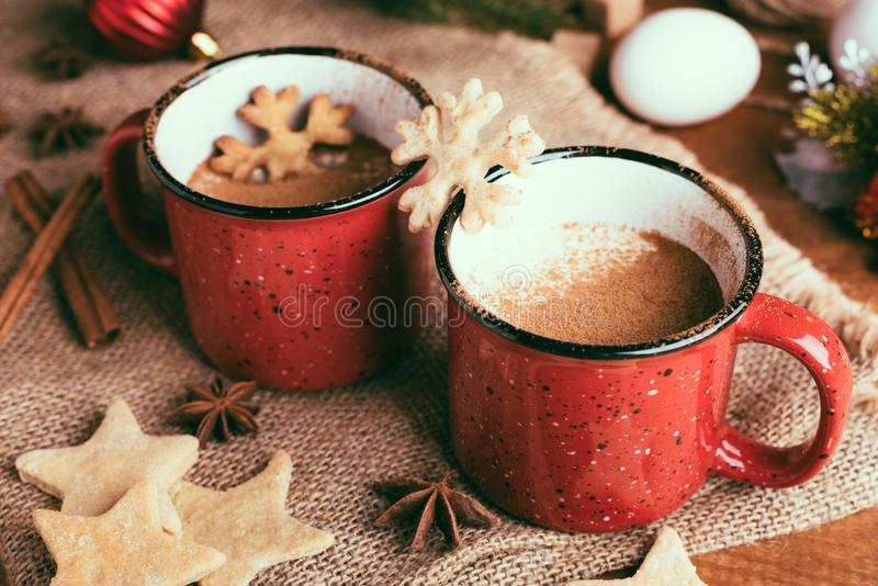 Traditional Christmas drink eggnog with cinnamon, anise stars royalty free stock image
