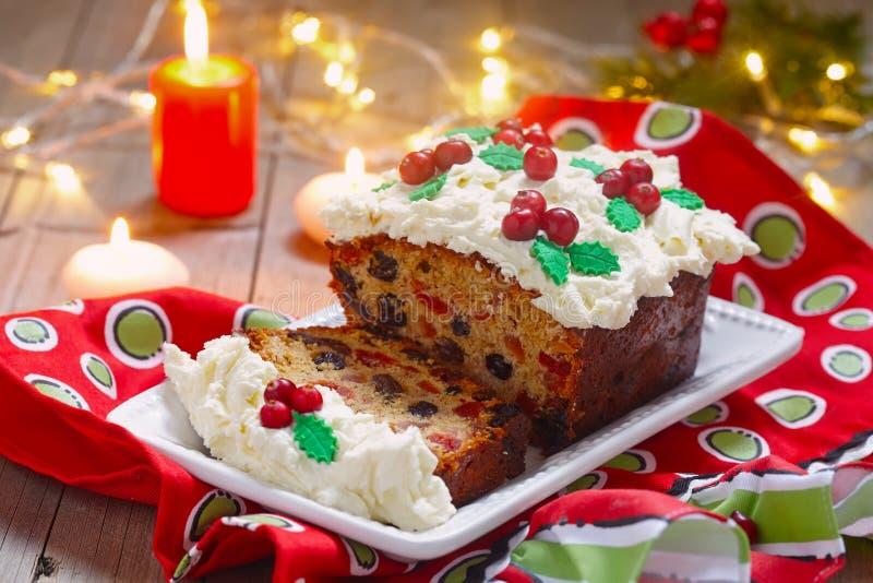 Traditional Christmas fruitcake stock images