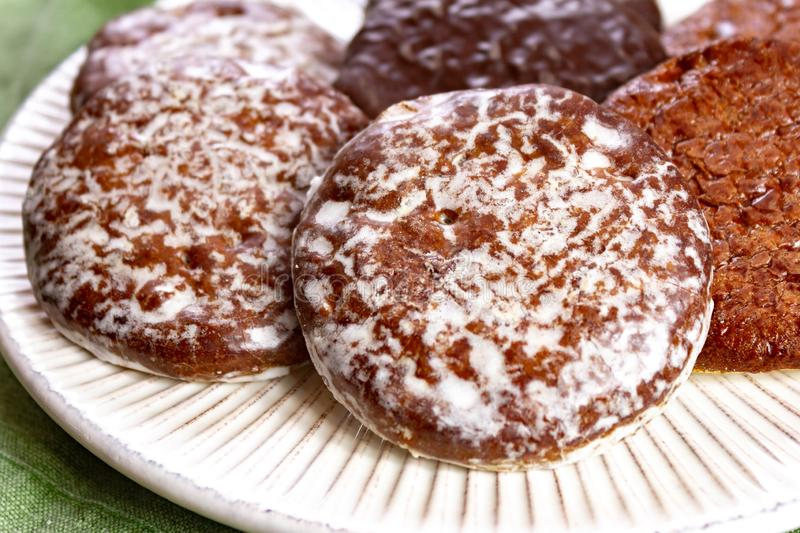 Traditional Christmas gingerbread lebkuchen with honey and spices from Nuremberg, Germany stock photography