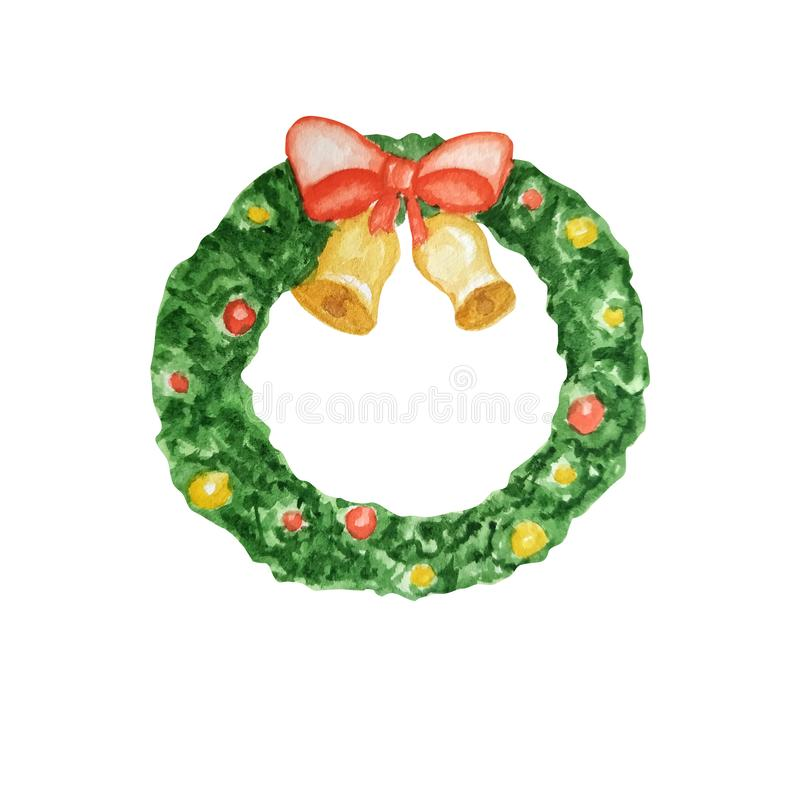 Traditional christmas green pine tree wreath with red, purple ribbon and decorations. Cartoon watercolor Hand drawn. Traditional christmas green pine tree wreath stock illustration