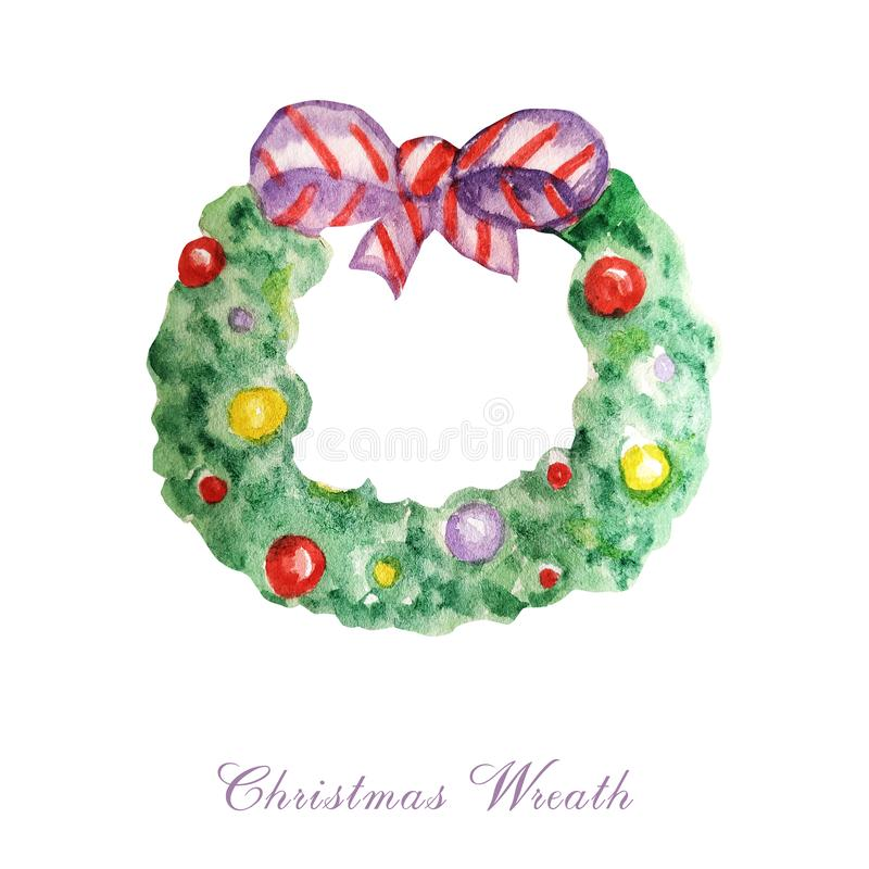 Traditional christmas green pine tree wreath with red, purple ribbon and decorations. Cartoon watercolor Hand drawn stock illustration