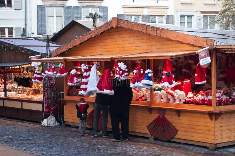 Traditional christmas hats at the christmas market. Mulhouse - France - 22 November 2015 - traditional christmas hats at the christmas market royalty free stock image