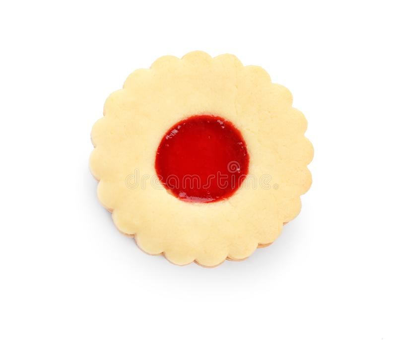 Traditional Christmas Linzer cookie with jam on white background stock photo