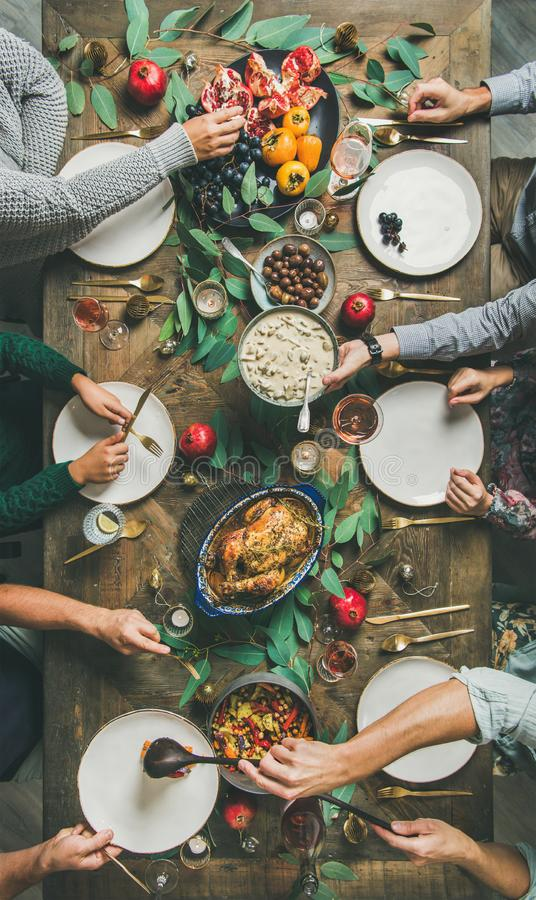 Traditional Christmas, New Year holiday celebration party dinner, vertical composition royalty free stock photo