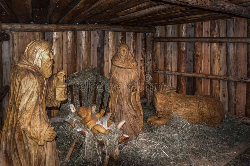 Traditional Christmas scenes of carved wooden sculptures stock photography
