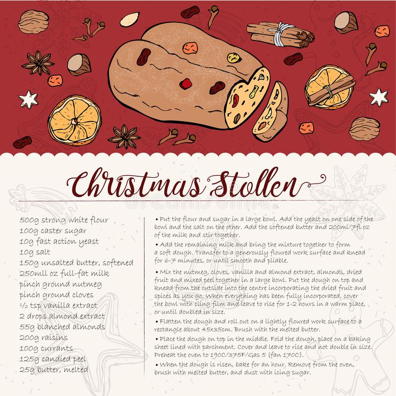 Traditional Christmas stollen recipe with candied fruit and nuts. Card recipe for a traditional Christmas stollen with candied fruit and nuts, sprinkled with vector illustration