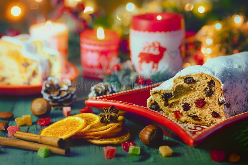 Traditional Christmas Stollen. stock photography