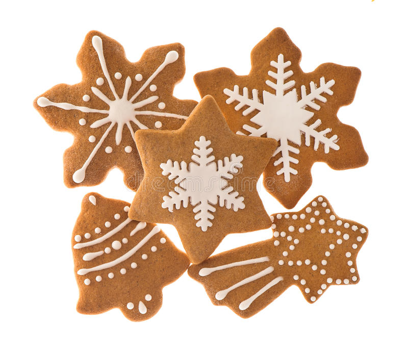 Traditional christmas sweet food gingerbread cookies. Gingerbread cookies isolated on white background. traditional christmas sweet food royalty free stock images