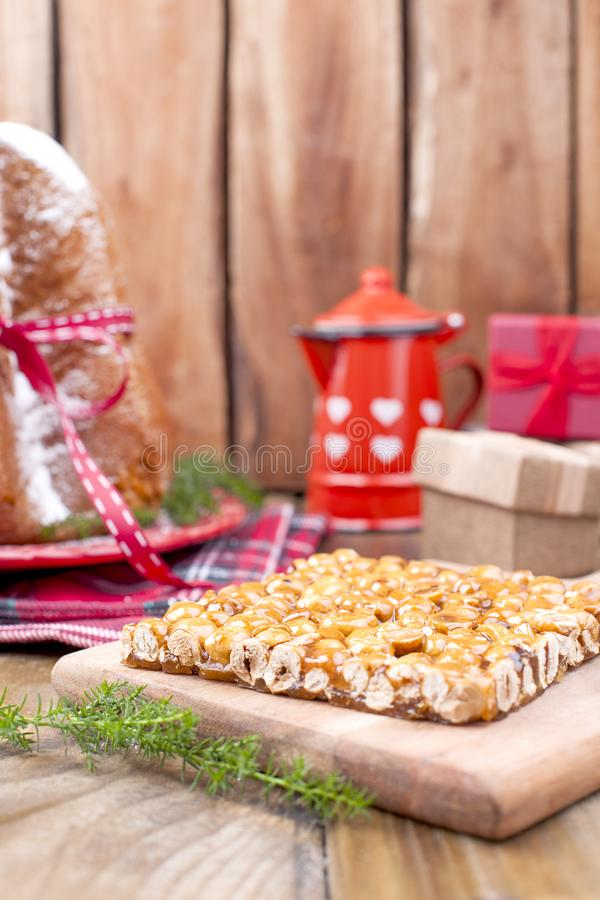 Traditional Christmas sweets made from nuts and caramel. Dessert stock photo