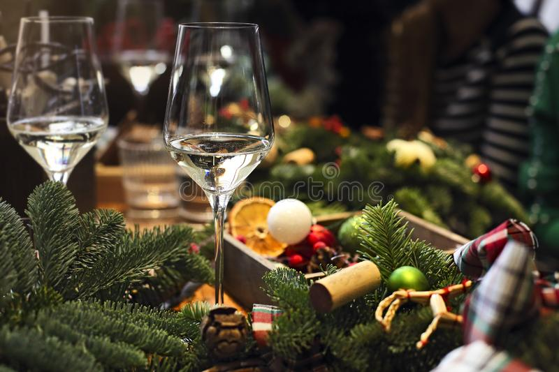 Christmas decoration on the wooden table. Traditional Christmas table setting, Christmas decoration on the wooden table stock photography