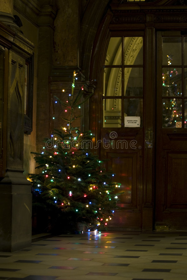 Traditional christmas tree. In old historic building stock image