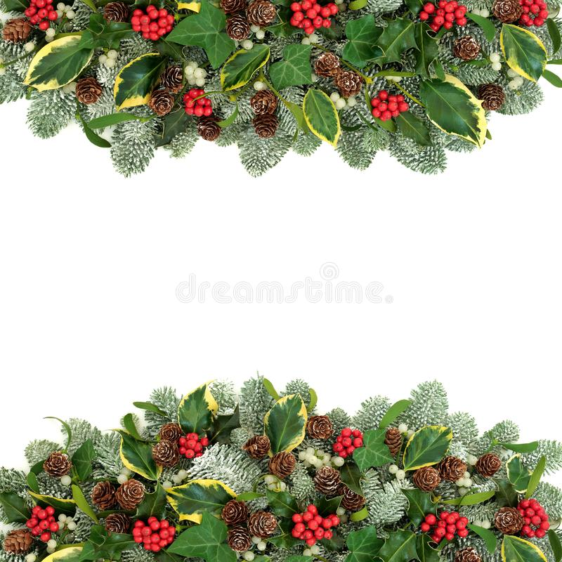 Traditional Christmas and Winter Border stock photo