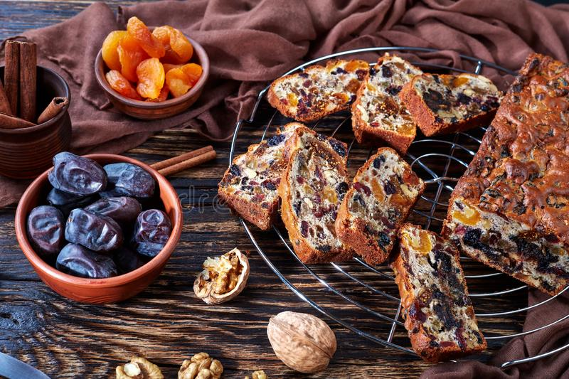 Traditional chunky dried fruits cake loaf royalty free stock photo