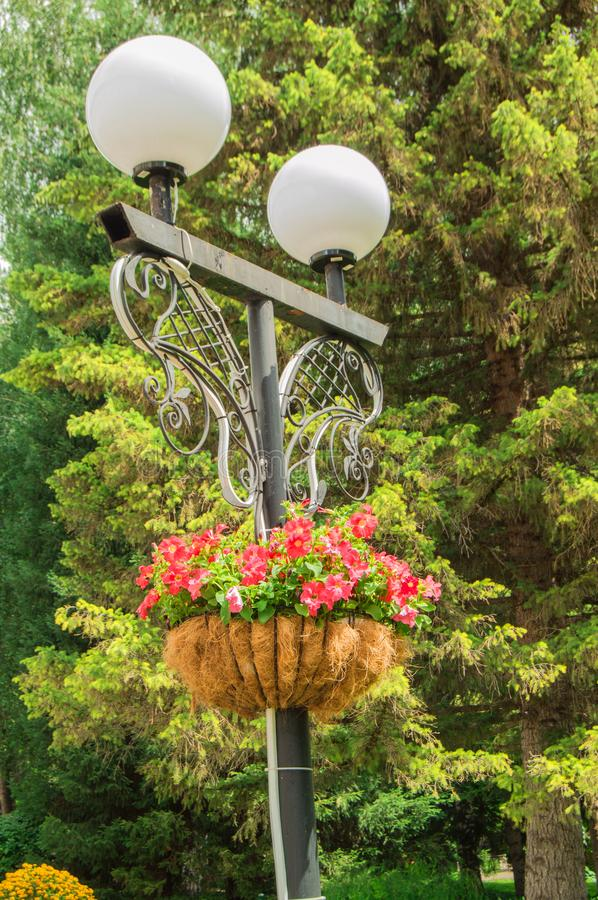Traditional city lantern with decorative hanging basket with beautiful flowers in the Park on the background of green trees on a stock images