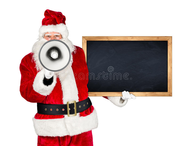 Traditional classic red white santa claus megaphone royalty free stock photography