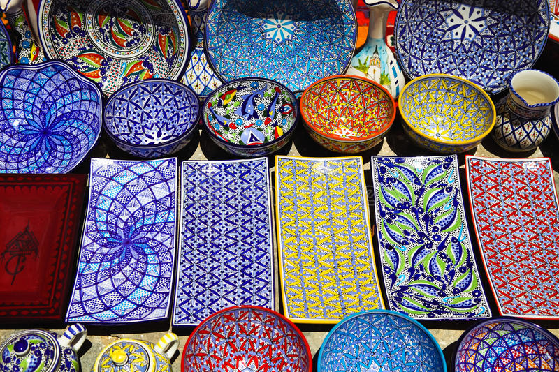 Traditional clay goods in shop in the medina of Tunis. Tunisia stock photo